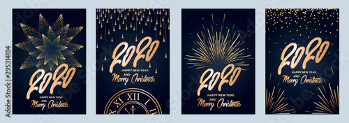 Fototapeta 2020 new year. Fireworks, golden garlands, sparkling particles. Set of Christmas sparkling templates for holiday banners, flyers, cards, invitations, covers, posters. Vector illustration. obraz