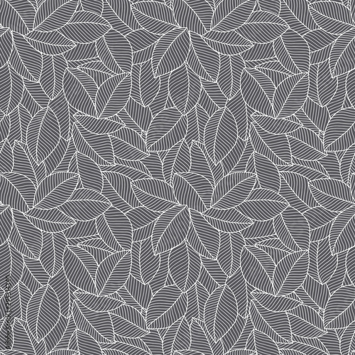 Hand drawn leaves. Seamless pattern.