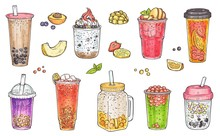 Bubble Tea, Iced Coffee, Fruit Smoothie And Other Sweet Drinks