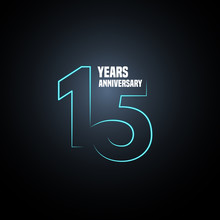 15 Years Anniversary Vector Logo, Icon. Graphic Design Element With Neon Number