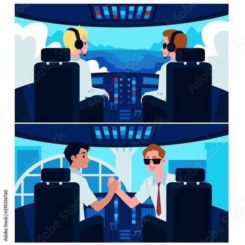 Obraz na plátně Cartoon airplane cockpit interior with plane captain and second pilot