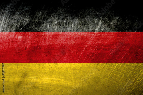 German flag on metal rough texture, grunge flag Canvas Print