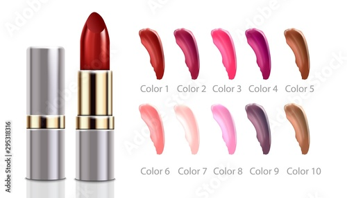 Fotografiet  Lipstick silver and gold tube and tints examples 3d vector illustration isolated