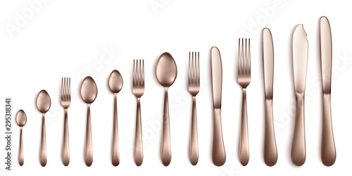 Fotografía  Set and collection of realistic cutlery in dark silver or bronze.