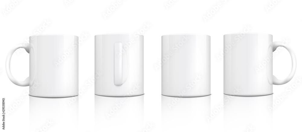Fototapeta Classic white mug mockup set from different angles