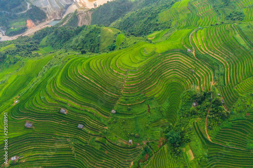 La pose en embrasure Les champs de riz Aerial top view of paddy rice terraces, green agricultural fields in countryside or rural area of Mu Cang Chai, Yen Bai, mountain hills valley at sunset in Asia, Vietnam. Nature landscape background.