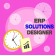 canvas print picture - Writing note showing Erp Solutions Designer. Business concept for elegant optimized modularised and reusable possible Layout Wall Clock Notepad with Escalating Bar Graph Arrow