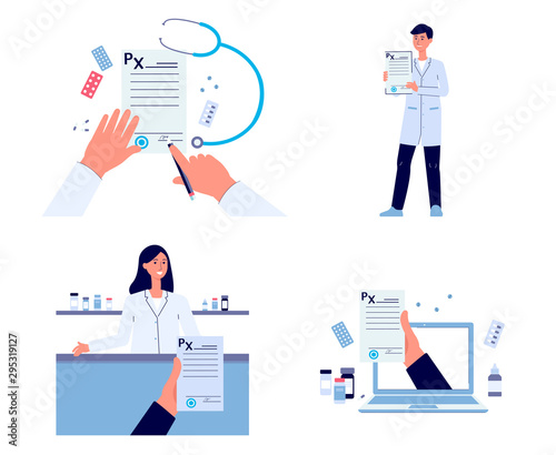 Medical prescription flat drawing set, people holding and signing paper document Wallpaper Mural