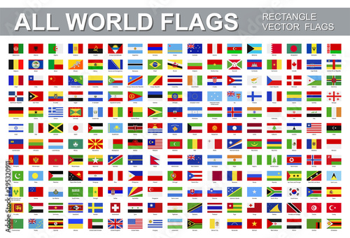 All world flags - vector set of rectangular icons. Flags of all countries and continents