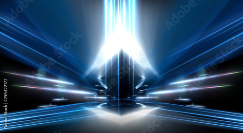 Canvastavla  Abstract light tunnel, blue background, stage, portal with rays, neon lights and spotlights
