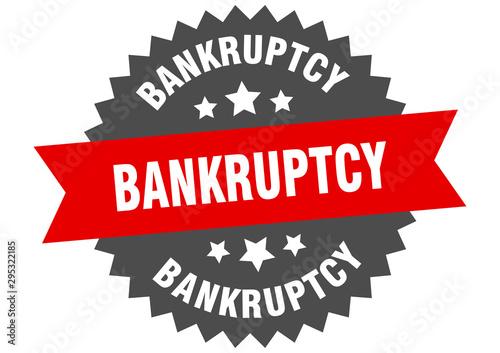 bankruptcy sign. bankruptcy red-black circular band label Wallpaper Mural