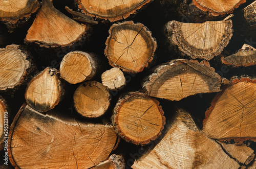 Fotobehang Brandhout textuur Wall firewood , Background of dry chopped firewood logs in a pile. Harvesting firewood for the winter. Harvesting firewood for the winter.