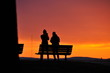 canvas print picture - Friends Photographing Sunset