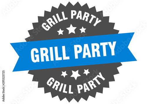 grill party sign. grill party blue-black circular band label Wallpaper Mural