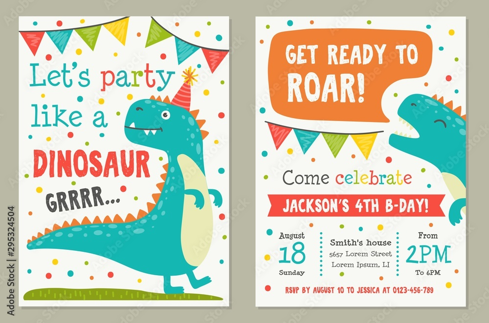 Dinosaur Toy Party Invitation Card Template Vector
