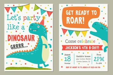 Dinosaur toy party invitation card template vector illustration. Lets party like dino and get ready to roar, poster decorated by funny animal, time icon and confetti