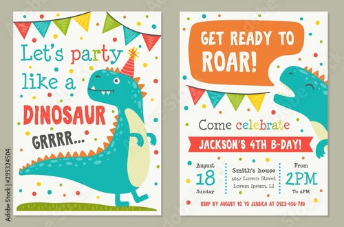 Obraz na plátne Dinosaur toy party invitation card template vector illustration