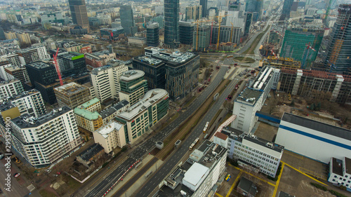 Aerial view of the Warsaw cityscape with skyscrapers and buildings in the capital of Poland. 05. October. 2019. Panorama of the city on a cloudy day.