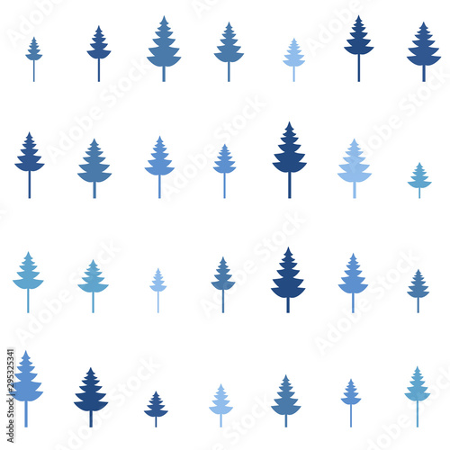 Foto auf Gartenposter Künstlich Seamless vector illustration. Minimalistic concept. Flat style pine trees. Pine forest. Abstract minimalism. Wavy pattern. Elements for design. Environmental protection. Winter blue trees background