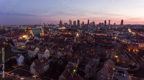 Cityscape of old buildings and architecture in the old town in Warsaw. Aerial view of old buildings, castles and a church in the old city of Warsaw.  © Oleksandr