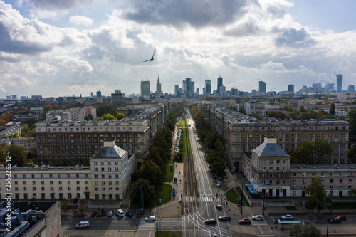 Fototapety, obrazy: Warsaw skyline aerial unmanned aerial view from above, modern skyscrapers and city buildings of Warsaw. Poland. 19. May. 2019. Beautiful daytime view in center with modern skyscrapers and buildings.