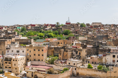 Panoramic scenic view of the city of Medina Fes in Morocco
