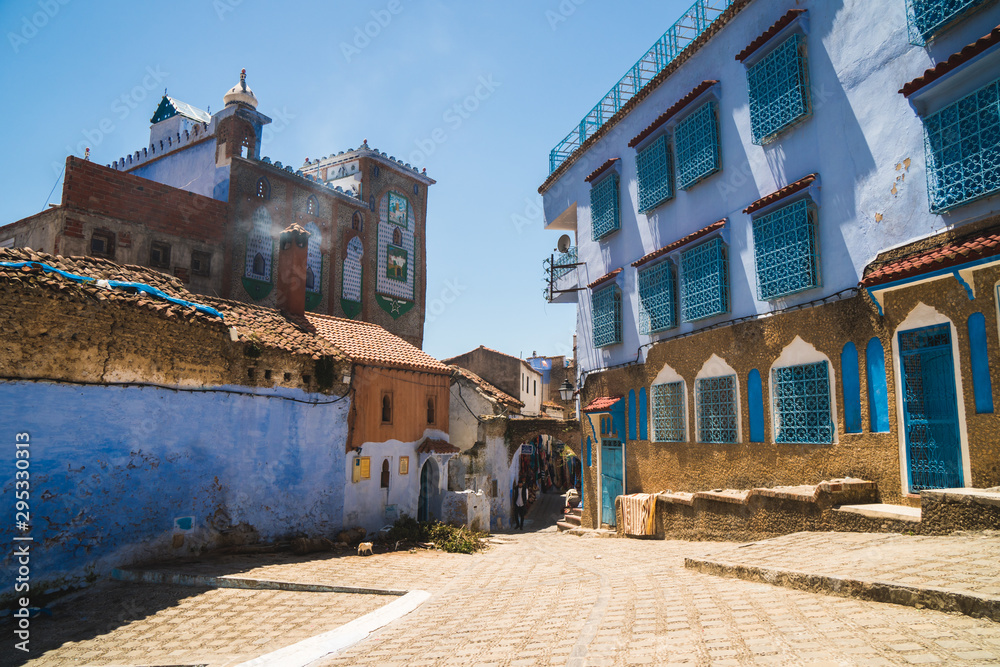 View of the narrow streets of the Chefchaouen city in Morocco, known as the blue city