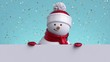3d snowman looking out the wall, holding blank banner, blinking and smiling. Gold confetti falling. Happy New Year. Merry Christmas animated greeting card. Winter holiday background. 1920x1080 hd