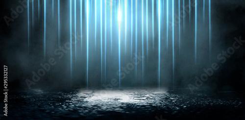 Obraz Wet asphalt, reflection of neon lights, a searchlight, smoke. Abstract light in a dark empty street with smoke, smog. Dark background scene of empty street, night view, night city. - fototapety do salonu