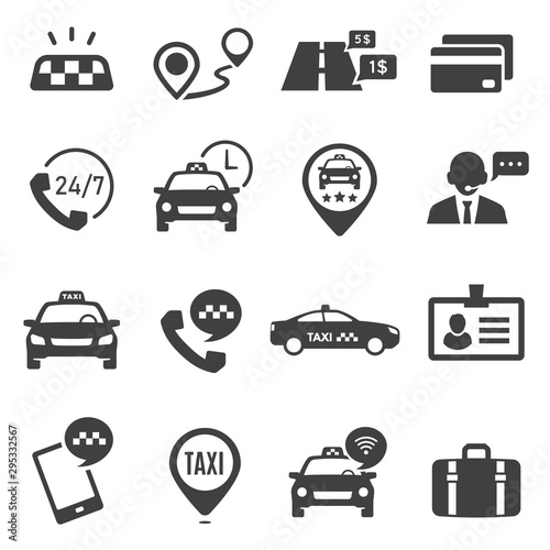 Fotografía Taxi service black glyph vector icons set