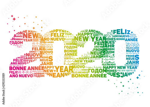 Pinturas sobre lienzo  2020 Greeting Card - Happy New Year