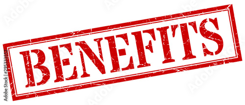 Fototapeta benefits stamp. benefits square grunge sign. benefits obraz