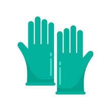Forensic Lab Gloves Icon. Flat Illustration Of Forensic Lab Gloves Vector Icon For Web Design