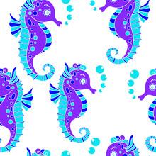 Seahorses Seamless Pattern Ba...