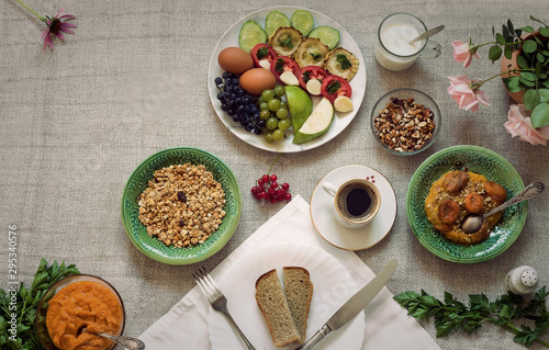 Healthy Breakfast on tablecloth, top view, copy space Tablou Canvas