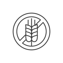 Gluten Free Line Black Icon. Label For Cosmetic Natural Product Sign. Zero Waste Lifestyle. Chemical Free. Eco Friendly. Pictogram For Web Page, Mobile App.