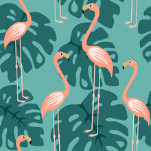 Pink Flamingo Seamless Pattern Bacground, Tropical Flamingo Surface Pattern, Repeat Pattern For Home Decor, Textile Design, Fabric Printing, Stationary, Packaging, Wall Paper Or Wrapping Paper