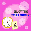 canvas print picture - Writing note showing Enjoy This Sweet Moment. Business concept for encouraging someone to love his life timeline Layout Wall Clock Notepad with Escalating Bar Graph Arrow