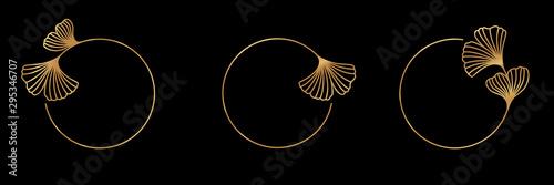 Fototapeta Set Ginkgo Biloba Leaf gold frame badge and icon in trendy linear style - Vector Logo Emblem of gingko obraz