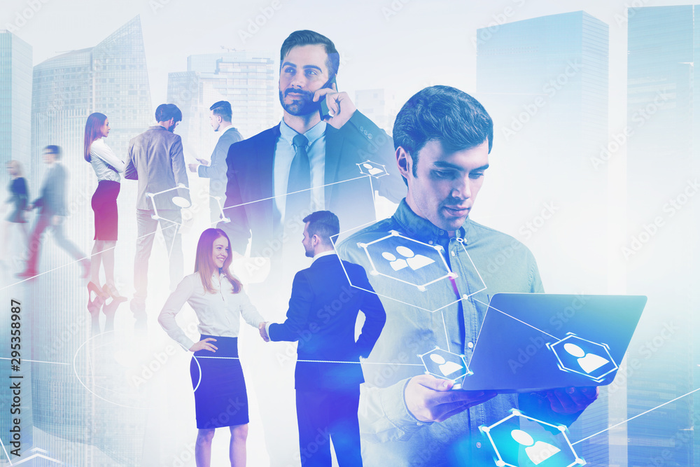Fototapety, obrazy: Business people in city, recruitment concept