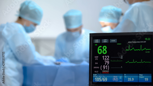 Ecg monitor recording activity of heart rate during hospital operation, surgery Canvas Print