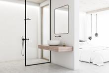 White Bathroom Interior Next To Bedroom