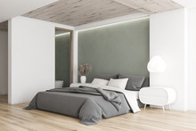 White And Gray Minimalistic Bedroom Corner
