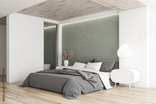Poster Individuel White and gray minimalistic bedroom corner
