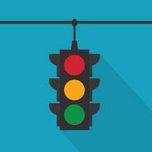 Hanging Traffic Lights Icon- Vector Illustration