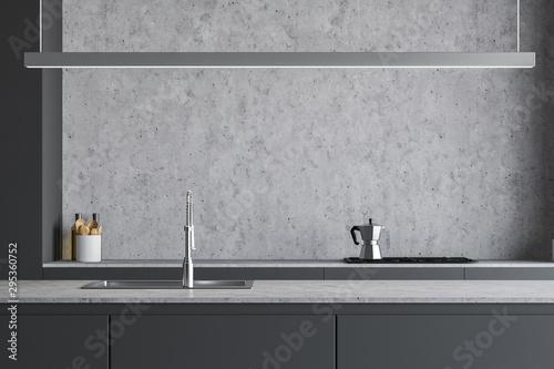 Fototapeta Gray kitchen countertop close up obraz