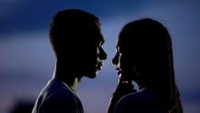 Lovely Couple Dreaming Of Romantic Kiss In Darkness, Shy Inexperienced Teens