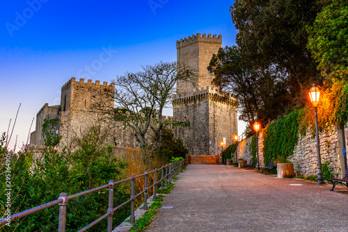 Photo Stands Old building Erice, Sicily, Italy: Night view of the Venere Castle, a Norman fortress