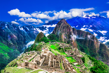Machu Picchu, Cusco, Peru: Overview of the lost inca city Machu Picchu with Wayna Picchu peak
