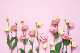 Pink and white eustoma flowers on pink background. Copy space, top view. Holiday background.